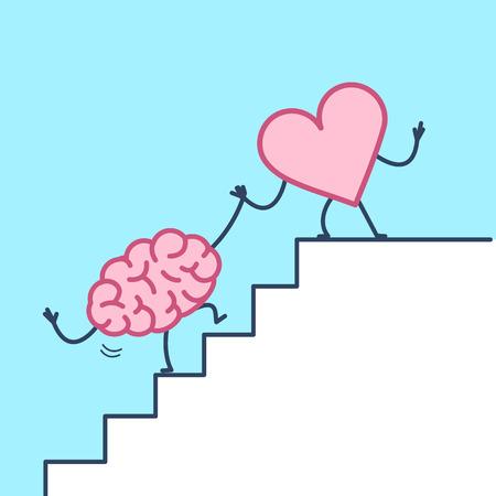 Corazón ayudando al cerebro al éxito. Ilustración del concepto de vector de la cooperación del corazón y el cerebro en las escaleras a la meta   icono de infografía lineal de diseño plano sobre fondo violeta