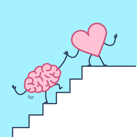 Heart helping brain to success. Vector concept illustration of heart and brain cooperation on stairs to goal | flat design linear infographic icon on violet background
