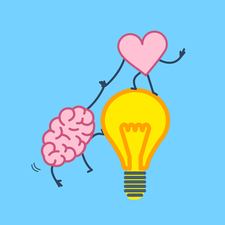 Brain and heart cooperation and teamwork. Vector concept illustration of mind and feelings, heart helps to climb brain on idea bulb | flat design linear infographic icon on blue background