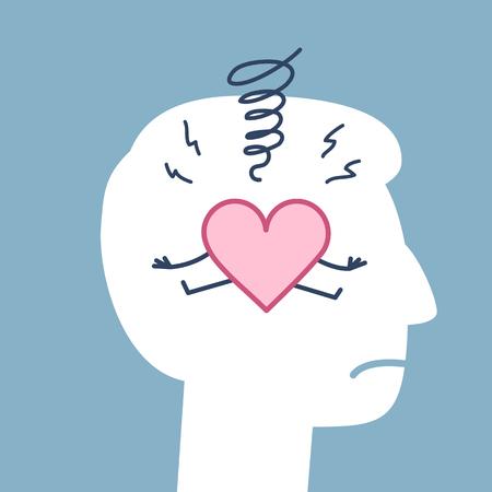 Sad heart inside head. Vector concept illustration of depression in heart, soul and emotions | flat design linear infographic icon on blue background Ilustração Vetorial