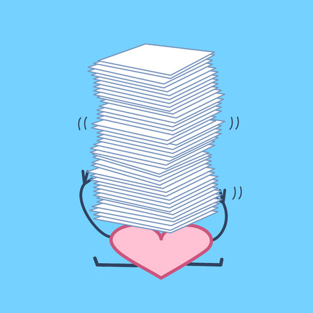 Overworked heart under pressure. Vector concept illustration of heart overwhelmed heap of papers | flat design linear infographic icon on blue background Vettoriali