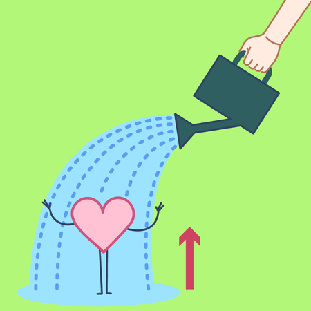 Brain growing up. Vector concept illustration hand watering heart with can | flat design linear infographic icon on green background Zdjęcie Seryjne - 108760889