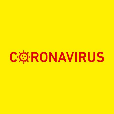 Coronavirus icon and text. Vector concept illustration of Covid-19 virus | flat design infographic icon red on yellow background Vectores