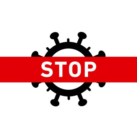 Stop Coronavirus icon. Vector concept illustration of Covid-19 virus | flat design infographic icon red and black on white background Vectores