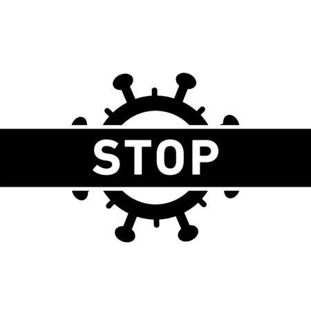 Stop Coronavirus icon. Vector concept illustration of Covid-19 virus   flat design infographic icon black on white background