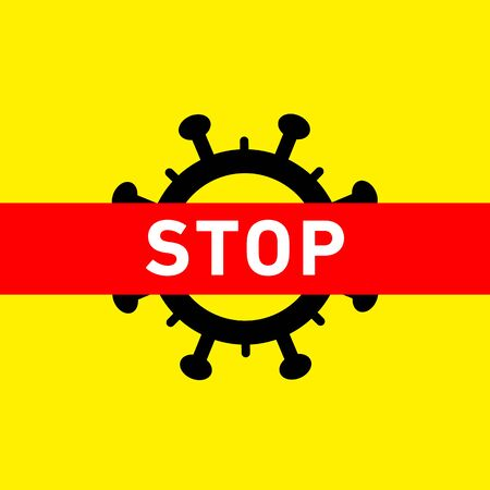 Stop Coronavirus icon. Vector concept illustration of Covid-19 virus | flat design infographic icon black and white on yellow background Vectores