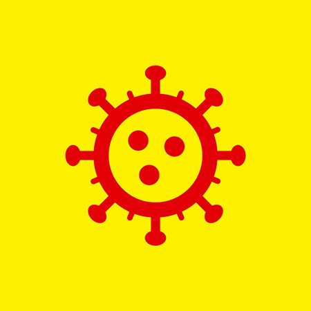 Coronavirus simple icon. Vector concept illustration of Covid-19 virus | flat design infographic icon red on yellow background