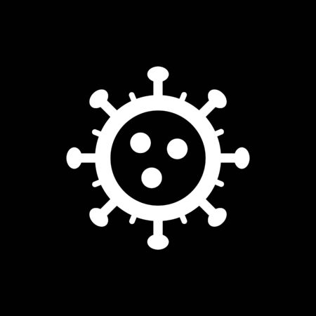 Coronavirus simple icon. Vector concept illustration of Covid-19 virus | flat design infographic icon white on black background