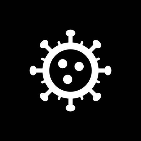 Coronavirus simple icon. Vector concept illustration of Covid-19 virus | flat design infographic icon white on black background