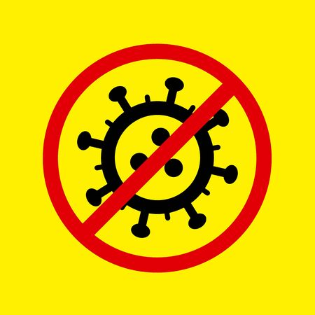 Stop Coronavirus danger alert icon. Vector concept illustration of Covid-19 virus | flat design infographic icon black and red on yellow background