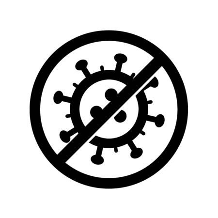 Stop Coronavirus danger alert icon. Vector concept illustration of Covid-19 virus | flat design infographic icon black on white background Vectores