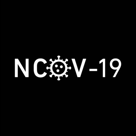 nCov 19 icon. Vector concept illustration of Covid-19 virus | flat design infographic icon white on black background