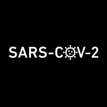 Sars Cov 2 icon. Vector concept illustration of Covid-19 virus | flat design infographic icon white on black background