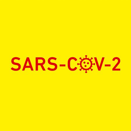 Sars Cov 2 icon. Vector concept illustration of Covid-19 virus | flat design infographic icon red on yellow background