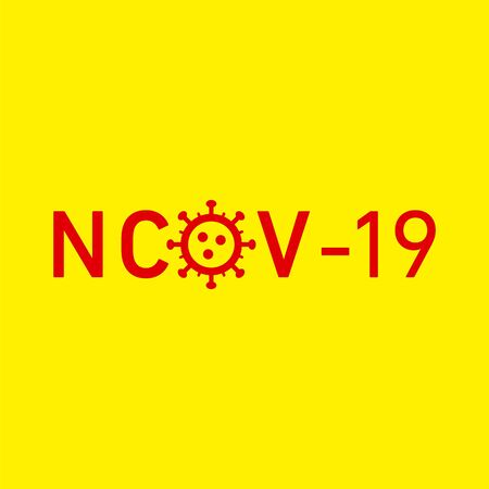 nCov 19 icon. Vector concept illustration of Covid-19 virus | flat design infographic icon red on yellow background