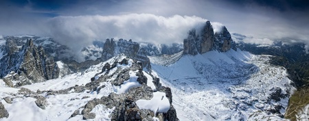snow texture: Stitched Panorama, Tre cime di lavaredo, italy, dolomites, panoramatic wiev