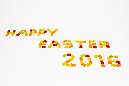 gummy: A sign Happy Easter 2016 made of gummy bears Stock Photo