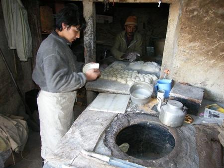 leh: Bread production in India, Ladakh, Leh, Himalaya