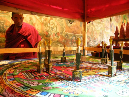 buddhist monk: Mandala in Buddhist church short before destruction, Ladakh, India, Himalaya
