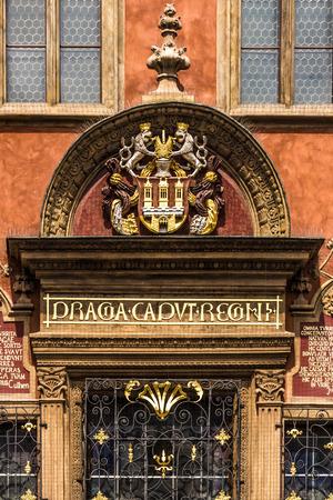 caput: Praga Caput Regni, Prague the head of kingdom, Prague Old Town Hall inscription