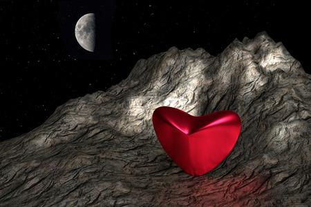 wasteland: Red heart in wasteland, 3d fantasy illustration. Stock Photo