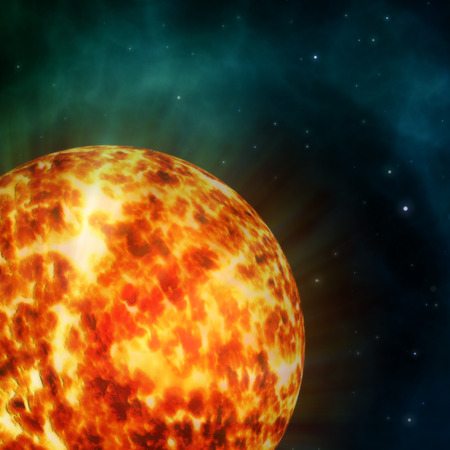 big bang theory: Generated illustration of a hot sun detail in the space. Stock Photo