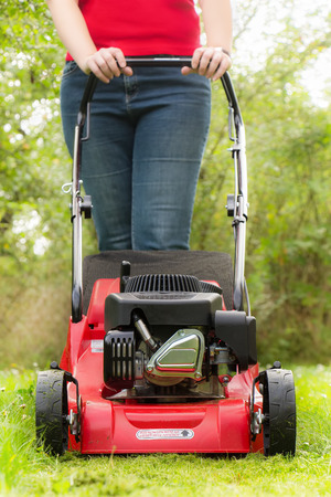 mower: Lawn mowing with petrol lawn mower
