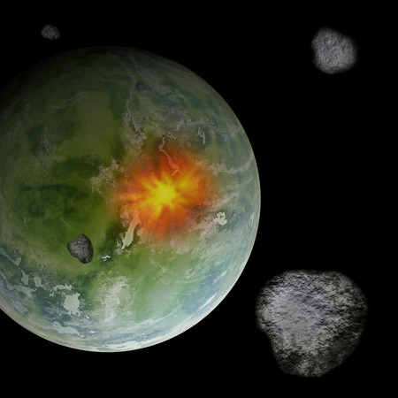 meteorites: Meteorites in space colliding with Earth like planet, computer generated illustration. Stock Photo
