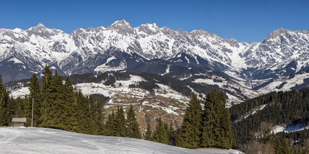 clean environment: Early spring  mountains panorama. Concept of untouched nature and clean environment. Stock Photo