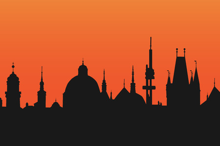 Silhouette of Prague towers at dawn, view from the Bridge Tower, vector illustration. Concept of late night at this beautiful historical city.