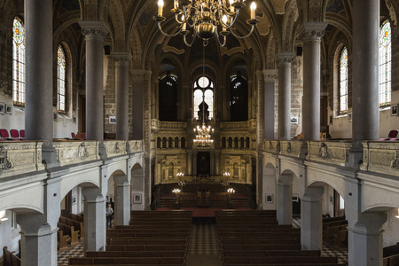 czech culture: Pilsen near Prague Czech Republic  May 17 2015: Pilsen the Great Sinagogue interior.The second biggest synagogue in Europe and the urban view at city of Pilsen  The European Capital of Culture 2015 Editorial
