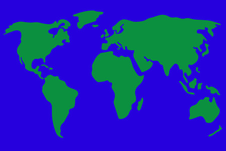 simplistic: World map vector illustration in green and blue. Simplistic and schematic design. Illustration