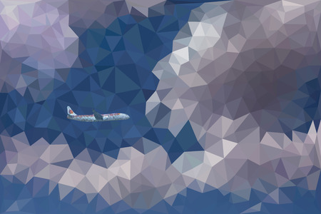dramatic: Low poly abstract vector illustration of dramatic sky with clouds and a flying plane.