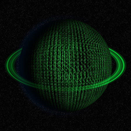 green it: Digital, binary code, IT world planet abstract illustration in green color.