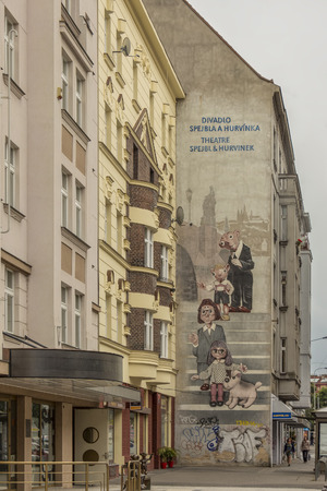 conceived: Prague, Czech Republic - June 22, 2015: The historical building of Spejbl and Hurvinek Theatre,  Czech puppet comedy duo. The characters were conceived by Czech puppeteer prof. Josef Skupa in 1920. Throughout the years the two characters have gained inter