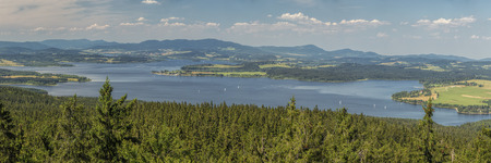 Panorama of lake Lipno in south Bohemia, Czech Republic, Europe, 160 km or 100 miles south of Prague. Standard-Bild