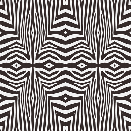 zebra stripes: Kaleidoscope vector abstract seamless background based on zebra stripes. Beautiful natural pattern.