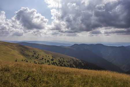 mala fatra: Panorama of Slovak Mountains in summer with incoming storm, Mala Fatra and Velka Fatra. Stock Photo