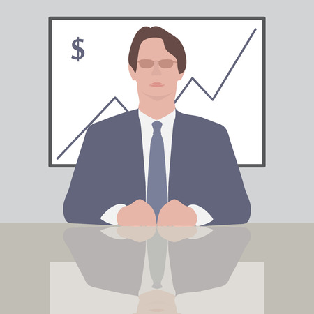 serious business: Flat design style modern vector illustration concept of successful and serious business man or manager in formal suit sitting at the desk. Illustration