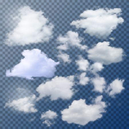 Set of different isolated vector clouds on transparent background.