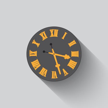 midnight hour: Vector old classical clock illustration, retro style. Illustration