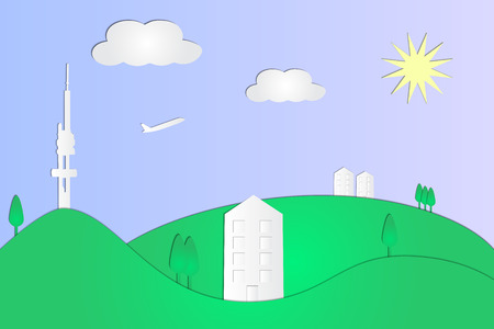 Sunny urban landscape paper cut vector illustration with modern houses, tv tower and plane taking off. Ilustração