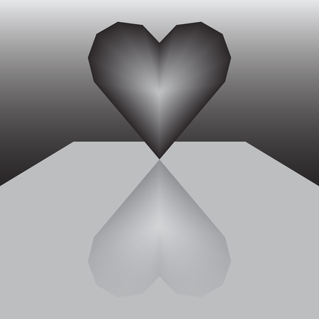 table surface: Modern 3d heart icon on glossy surface or table with reflection. Abstract vector illustration. Illustration