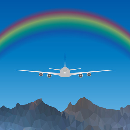 jet plane: Vector illustration of a jet plane flying head-on over blue sky with rainbow over high low poly mountains.
