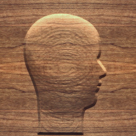 carving: Illustration of carving of man head in old grunge wood, seamless background.