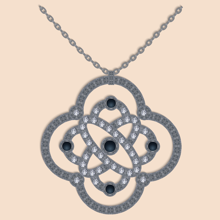 jewel: Vector illustration of brilliant necklace or charm, jewel.