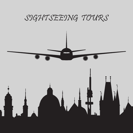 tours: Black and white icon of sightseeing tours with a plane and cityscape of historical city. Illustration
