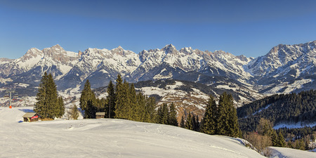 recreational sports: Austrian Alps panorama landscape at winter, concept of winter recreational sports and vacation.