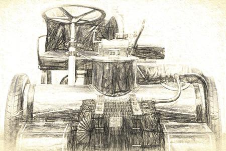motor de carro: coche antiguo, �spero bosquejo del l�piz digital. Foto de archivo