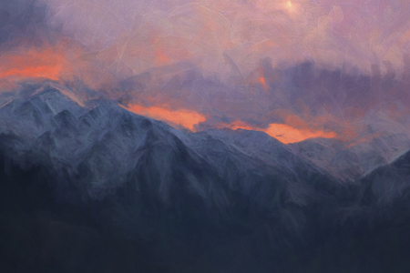 dramatic: Dramatic mountains in the evening, digital painting illustration.